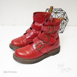 Dr Martens Blak Red Buckle Strap Boots